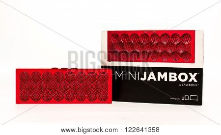 Winneconni WI - 5 June 2015: Mini Jambox made by Jawbone sitting next to the box it comes in.