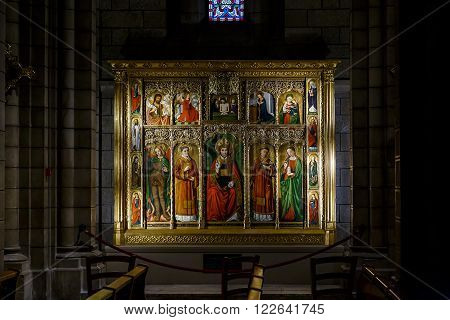 This is one of the iconostasis in the Cathedral of Monaco May 19 2015 in Monaco Monaco.