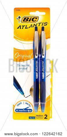 Winneconni WI - 10 June 2015: Package of Bic original atlantis pens