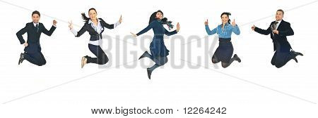 Line Of Business People Jumping