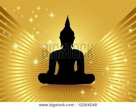 Black buddha silhouette against golden background