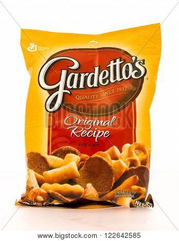 Winneconni WI - 16 June 2015: Bag of Gardetto's orginal recipe snack mix