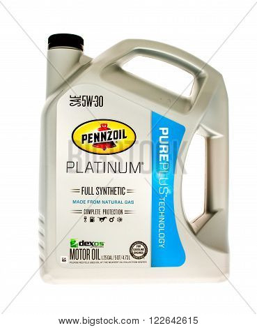 Winneconne WI - 5 June 2015: Container of Pennzoil platinum pureplus 5W-30 synthetic motor oil