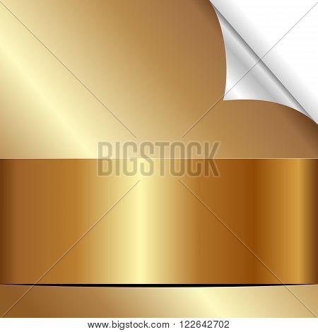golden background with bent corner - vector illustration