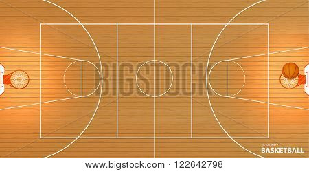Vector illustration a basketball court top view a ball in a basket space for text lorem ipsum