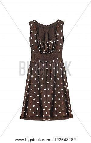 Brown knitwear sleeveless dress with polka dots isolated over white