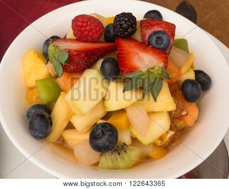 random kinds of fruit stacked on plate in Seiser Alm in South Tirol