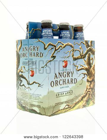 Winneconne WI - 15 March 2016: A six pack of Angry Orchard hard cider in crisp apple flavor ** Note: Soft Focus at 100%, best at smaller sizes