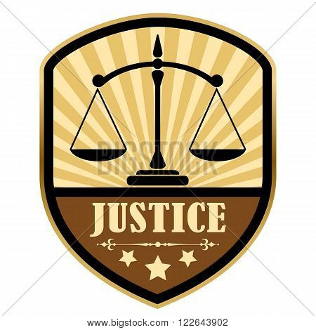 Justice retro label isolated on white background