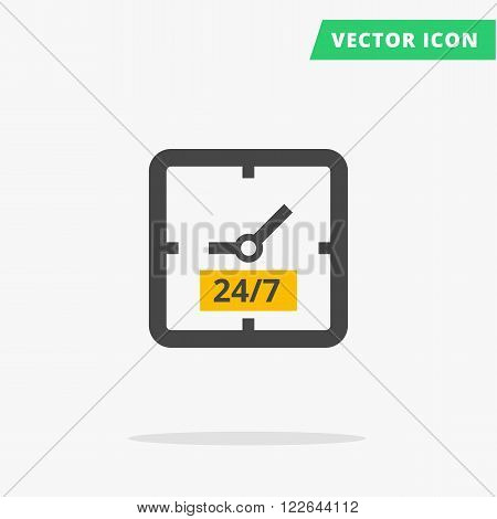 square clock black silhouette vector sign simple time icon daily 24 to 7