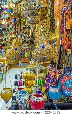 The colorful oil lamps and arabian lights in the souvenir stall of Arab Souq Jerusalem Israel.