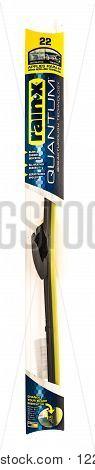 Winneconne WI - 7 July 2015: Package of a single Rain-x Quantum windshield wiper blade.