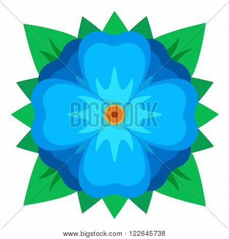 blue geometric style flower with green leafs vector flat illustration spring sign isolated on white background