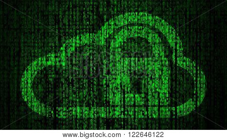 Internet Security concept with lock and cloud symbol   high quality computer graph