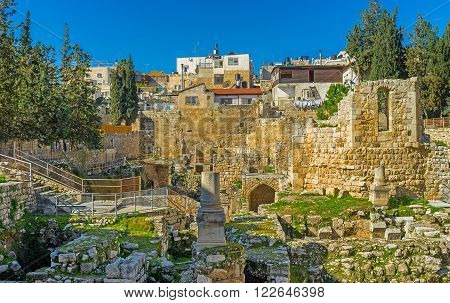 The site next to the ancient Bethesda pool was occupied by the Roman Temple then here was built the Byzantine Basilica nowadays it's the archaeological digs next to St Anne's Church Jerusalem Israel.