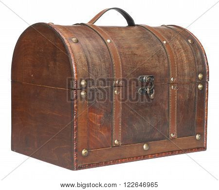 Old closed chest. Isolated on a white background. Three-quarter view.