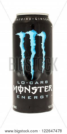 Winneconne WI - 5 June 2015: Can of Monster lo-carb energy drink