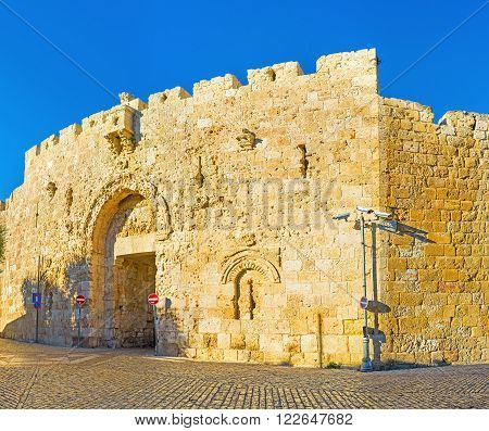 The Zion Gate located between the Mount Zion with its landmarks and the Armenian Quarter of old Jerusalem, Israel.