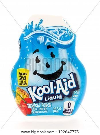 Winneconni WI - 13 June 2015: Bottle of Kool-Aid Liquid in tropical punch flavor.