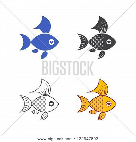 Vector image of an goldfish on white background. The color monochrome silhouette and outline.