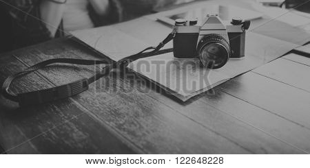 Camera Photographing Traveling Digital Tablet Map Concept