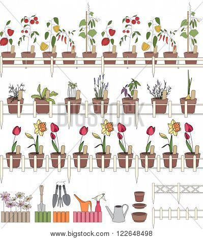 Seamless pattern brushes with growing herbs and vegetables in pots. Endless horizontal lines for your design.