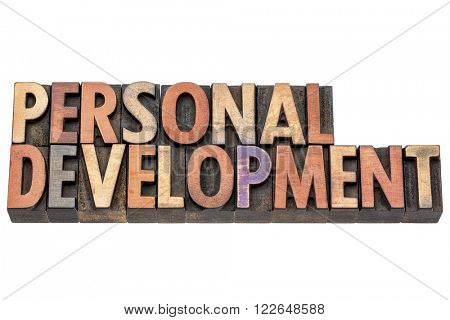 personal development  - isolated words in vintage letterpress  wood type printing blocks