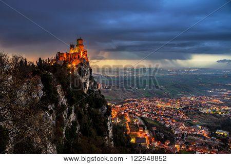 San Marino fortress of Guaita at sunset