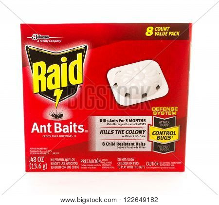 Winneconni WI - 11 June 2015: Box of eight bait stations used for killin ants made by Raid