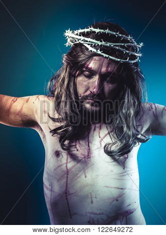 jesus christ, representation of Calvary on the cross with crown of thorns and wounds, faith and religion