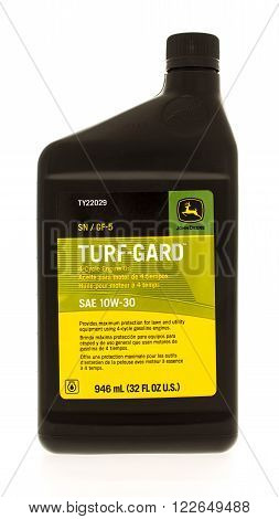 Winneconne WI - 7 July 2015: Bottle of Turf-Gard oil made for John Deere equipment.