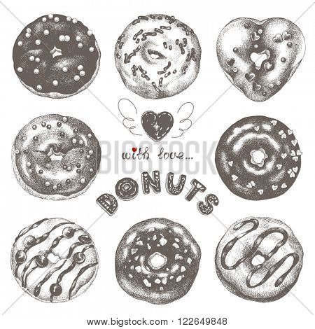 Collection of glazed Hand-drawn delicious donuts, vector illustration donuts.