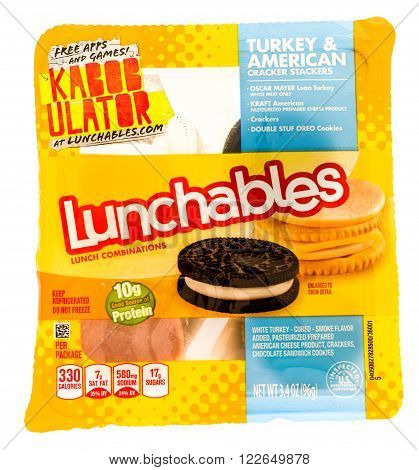 Winneconni WI - 22 July 2015: Package of a Lunchables in turkey and american flavor.