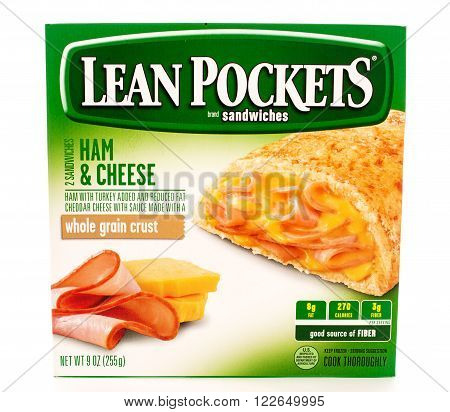 Winneconni, WI - 13 June 2015: Box of Lean Pockets ham and cheese flavor.