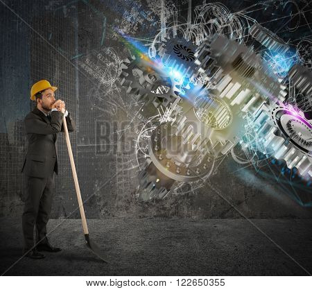 Builder with shovel with system gear mechanism