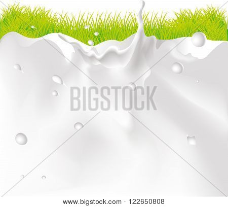 Milk Splash Background And green Grass vector