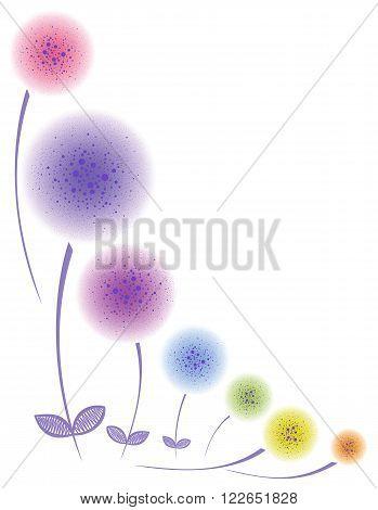 Floral corner Colorful stylized dandelions. Fluffy balls.
