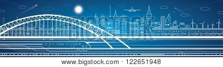 Train move on the bridge, light city on the background, transport and infrastructure panorama, airplane fly, neon lights, vector design