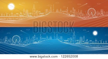 City at night in the desert, industrial mirage, mountains, night town, infrastructure panoramic, vector design
