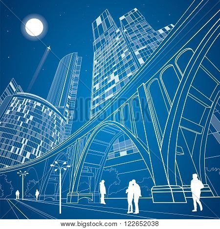 Big bridge, night city on background, vector industrial and infrastructure illustration, vector lines landscape, neon town, vector design art