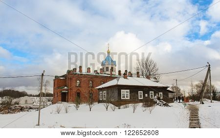 Staraya Ladoga, Russia - 23 February, Staraya Ladoga Church of the Holy Dormition nunnery, 23 February 2016. Tourist places in the great ancient route from the Vikings to the Greeks.Staroladozhsky Holy Assumption nunnery. Gold ring of Russia.