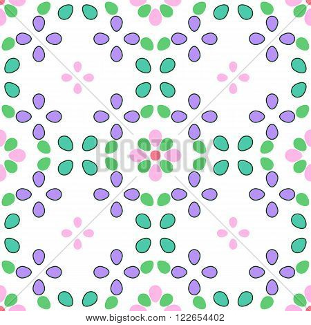 Seamless vector geometrical kaleidoscope pattern with ovoids in pastel colors on white background