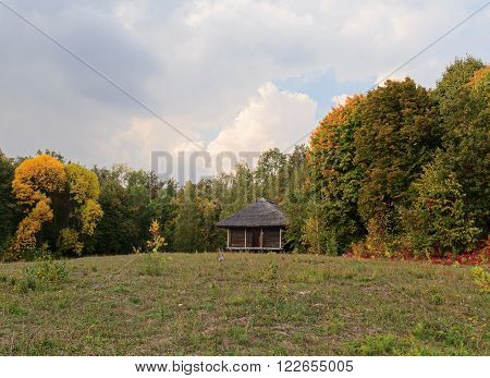 Old house of the peasants at the Museum of Pirogovo. Ukraine
