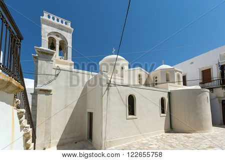 White Catholic church in the fortress in Chora town, Naxos Island, Cyclades, Greece