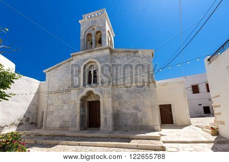 Catholic church in the fortress in Chora town, Naxos Island, Cyclades, Greece