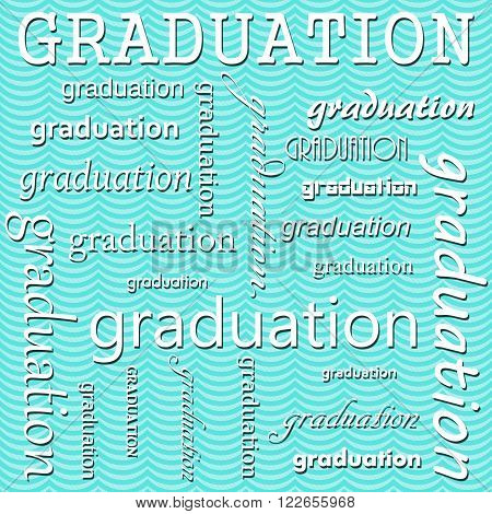Graduation Design with Teal Wavy Stripes Tile Pattern Repeat Background that is seamless and repeats