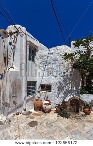 Old houses in the fortress in Chora town, Naxos Island, Cyclades, Greece