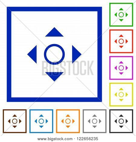 Set of color square framed scroll flat icons on white background