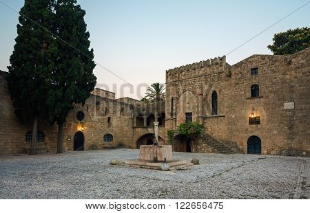 Greece, Rhodes - July 19 Argirokastu area with a fountain in the morning on July 19, 2014 in Rhodes, Greece