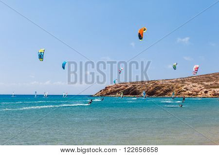 Greece, Rhodes - July 17 2014 Kiters and windsurfers in the Gulf of Prasonisi on July 17, 2014 in Rhodes, Greece